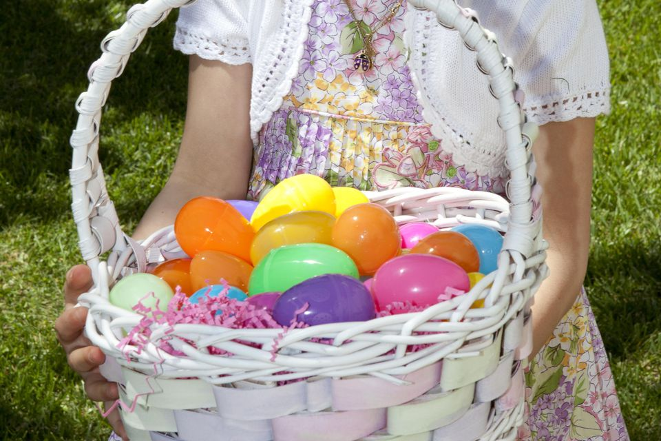 Girl holding Easter egg basket