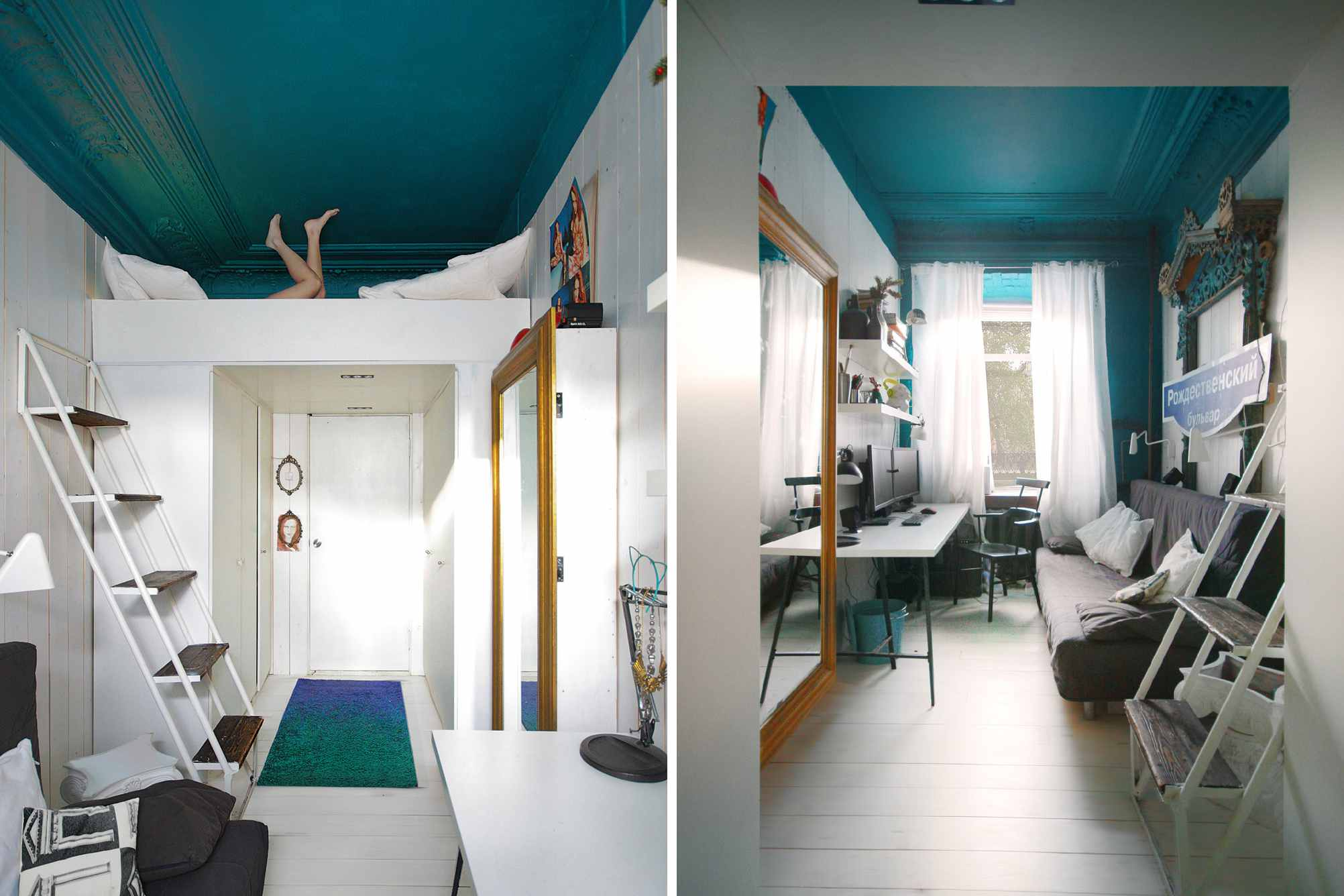 loft bed built in apartment entryway
