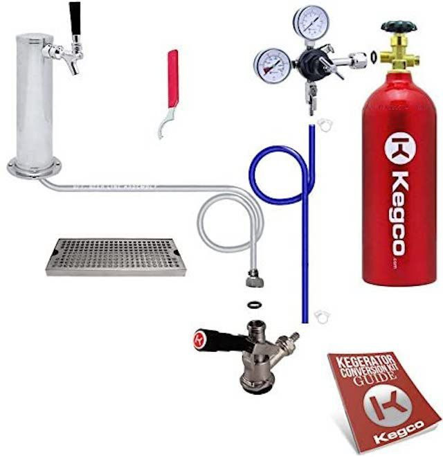 Kegco Deluxe Tower Kegerator Conversion Kit with 5 lb.