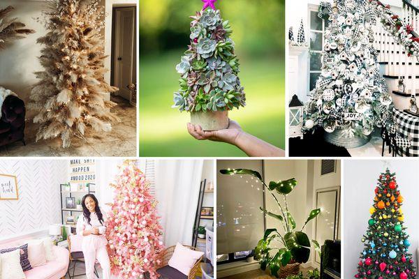 top christmas tree trends: boho tree, succulent tree, buffalo plaid tree, pink tree, plant tree, rainbow tree