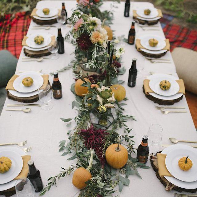 Pumpkin and Greenery Garland Fall Wedding Centerpiece