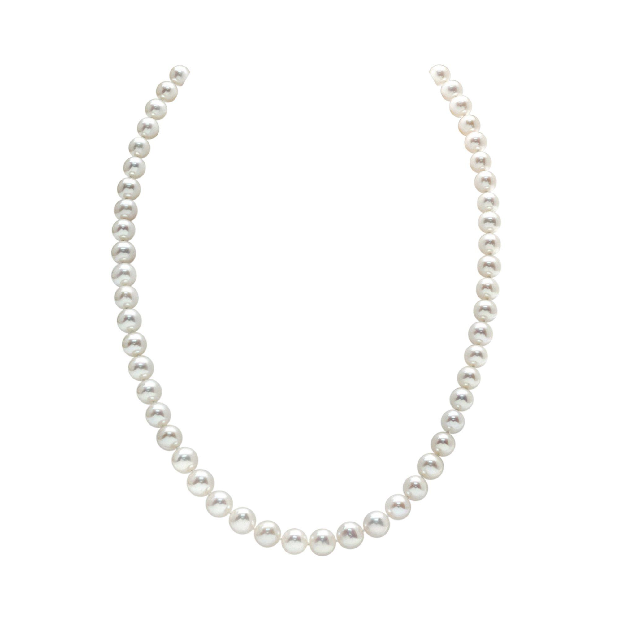 The Pearl Source White Freshwater Round Pearl Necklace