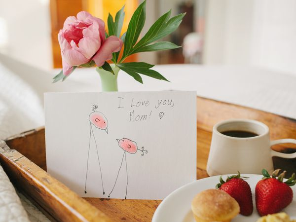 homemade mother's day card and breakfast in bed