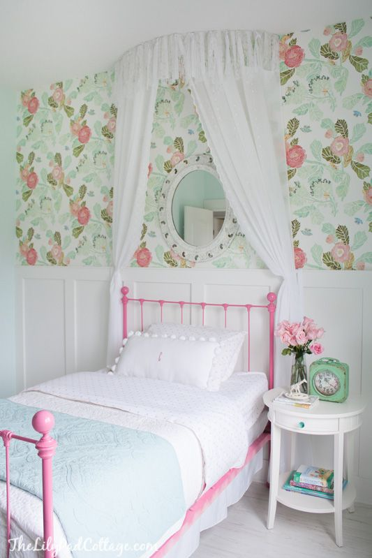 Girl's room with simple, no-sew bed canopy
