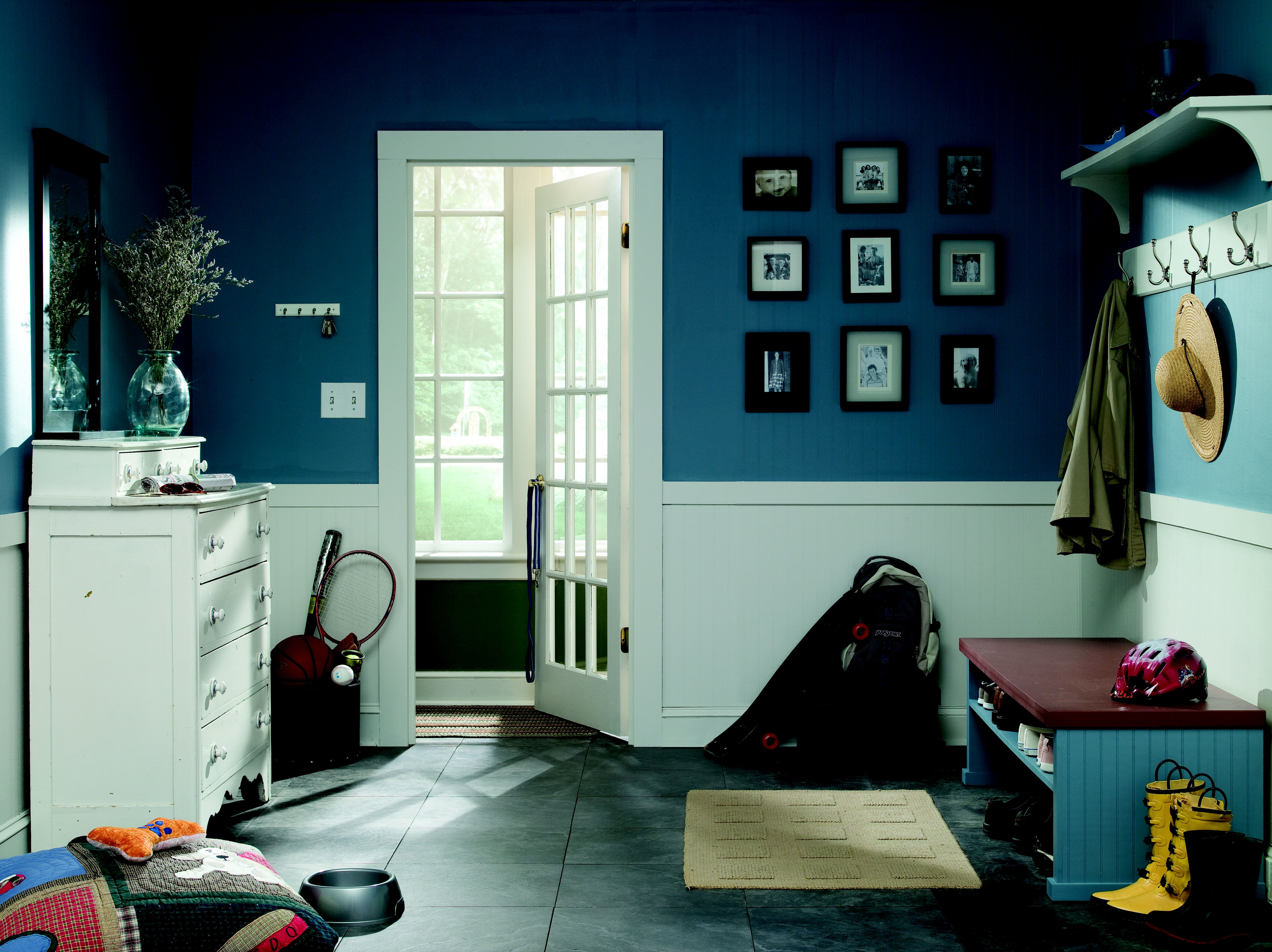 Behr Paints Waterscape 530F-S brought life to this mudroom