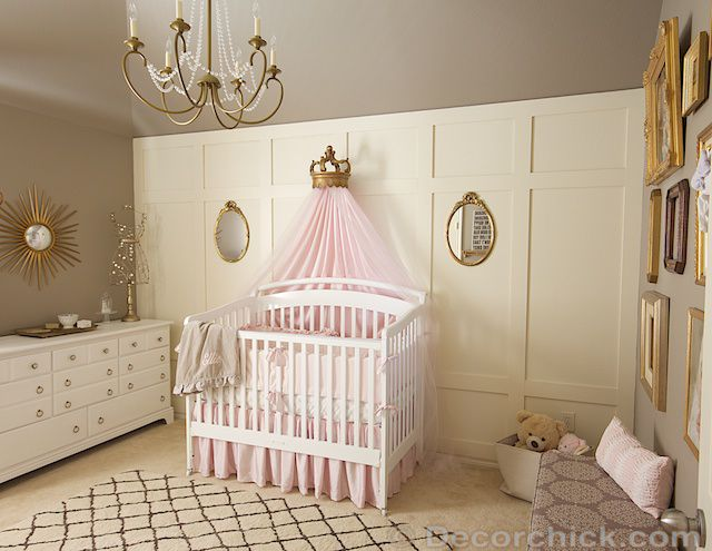 Vintage glam girl nursery in neutral greige