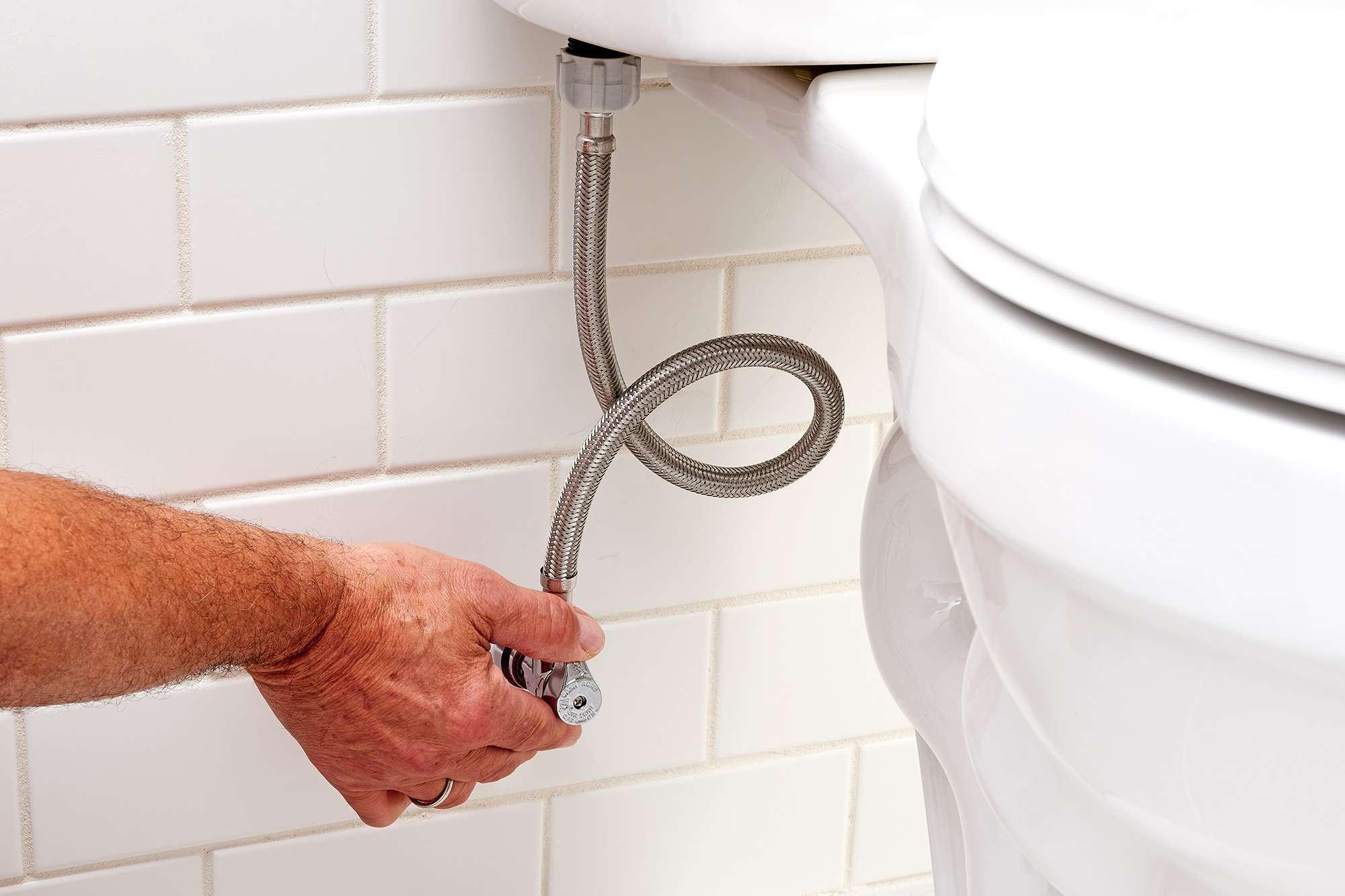 Shutoff valve handle turned clockwise