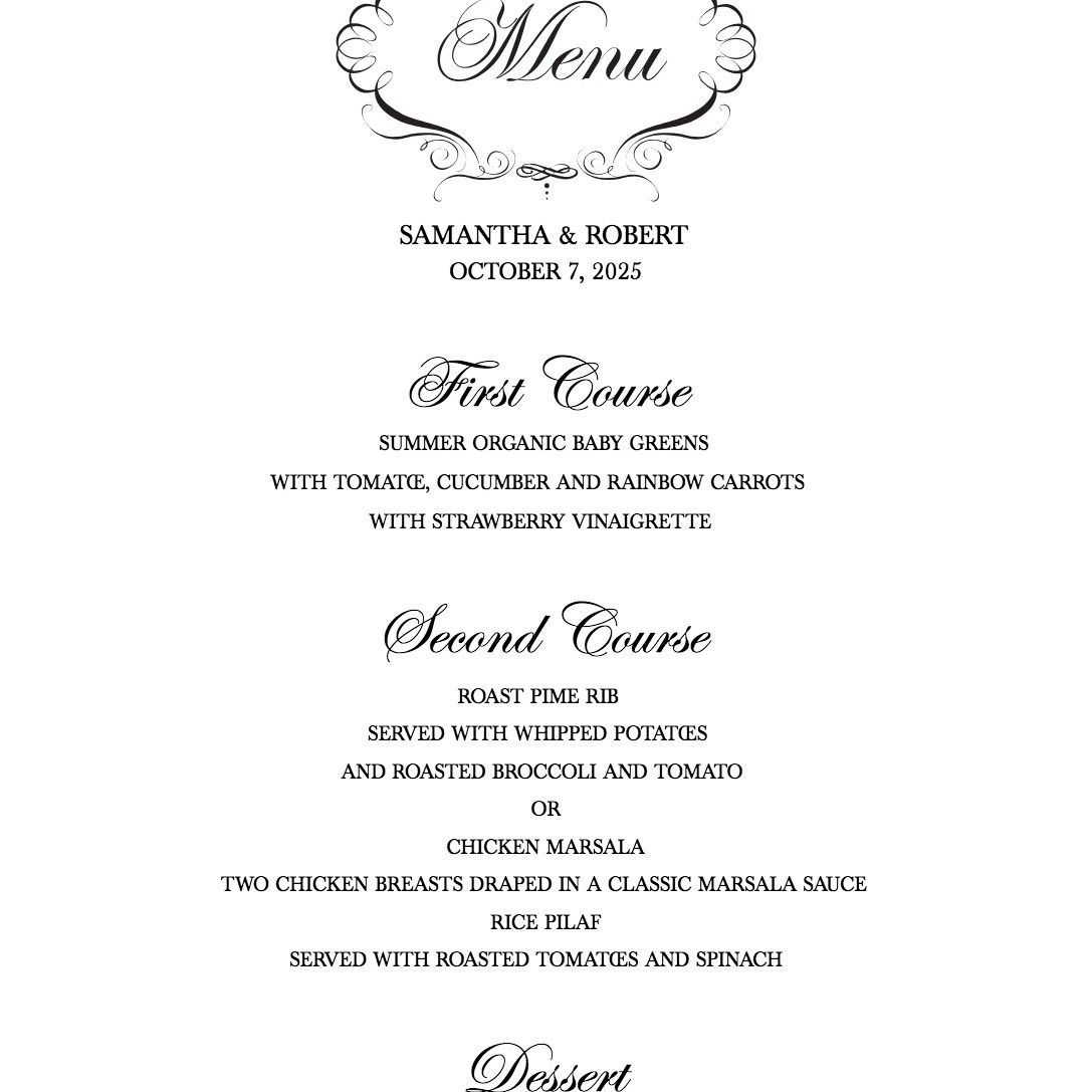 Wedding Chicks menu