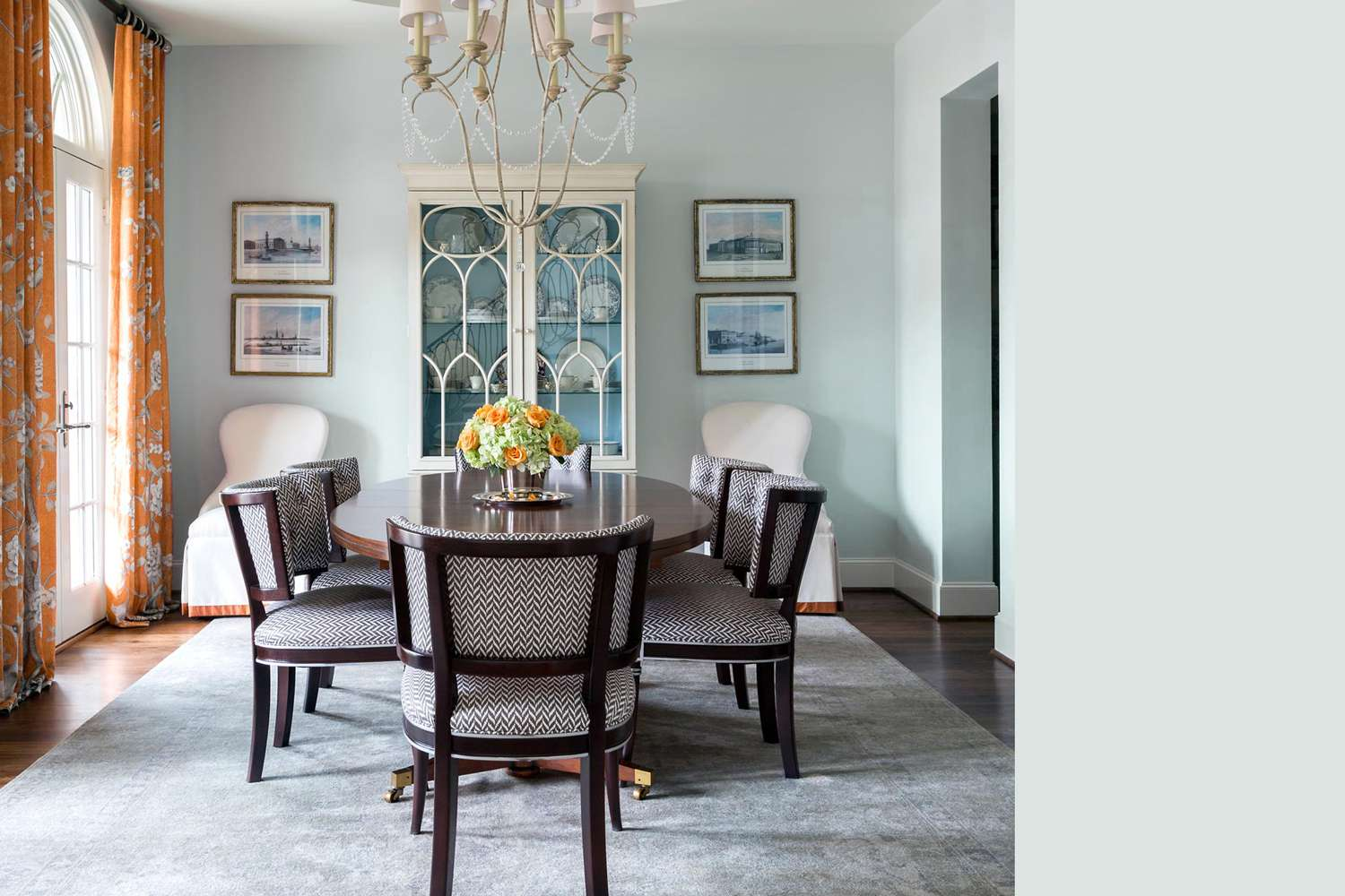 Interior painted a similar color to Benjamin Moore's Winter Ice