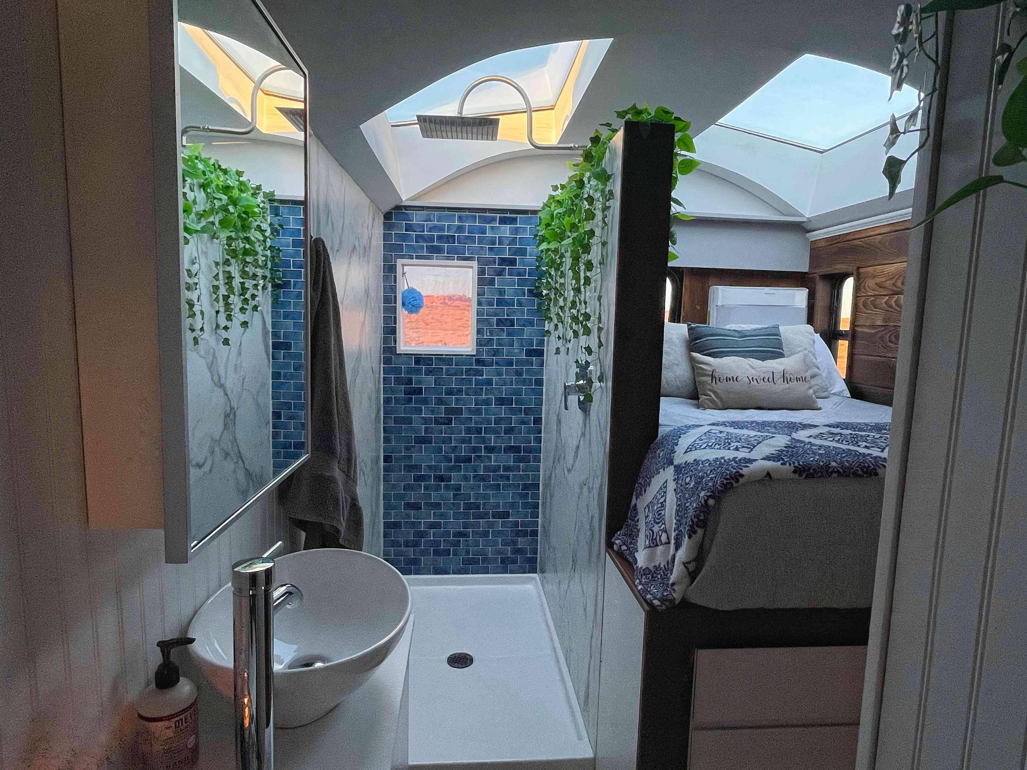 tiny house bathroom with sky light