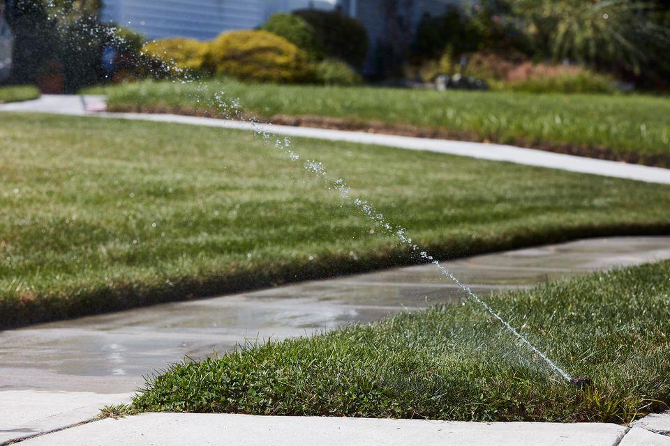 Lawn sprinkler spraying water on grass in between sidewalks