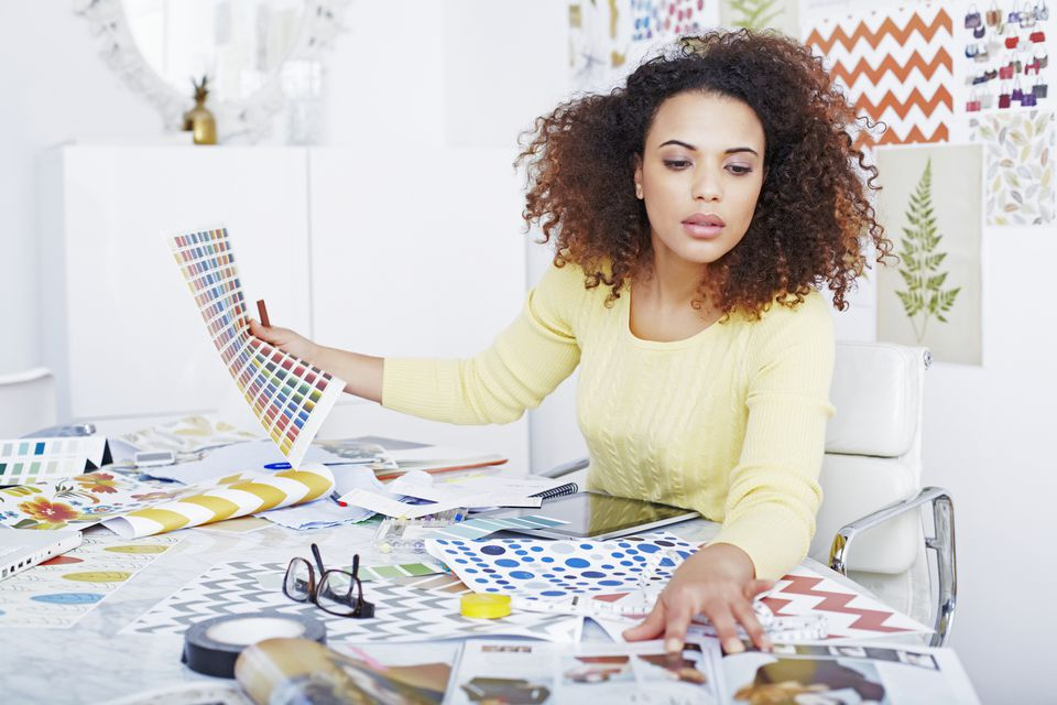 Woman working with paint colors