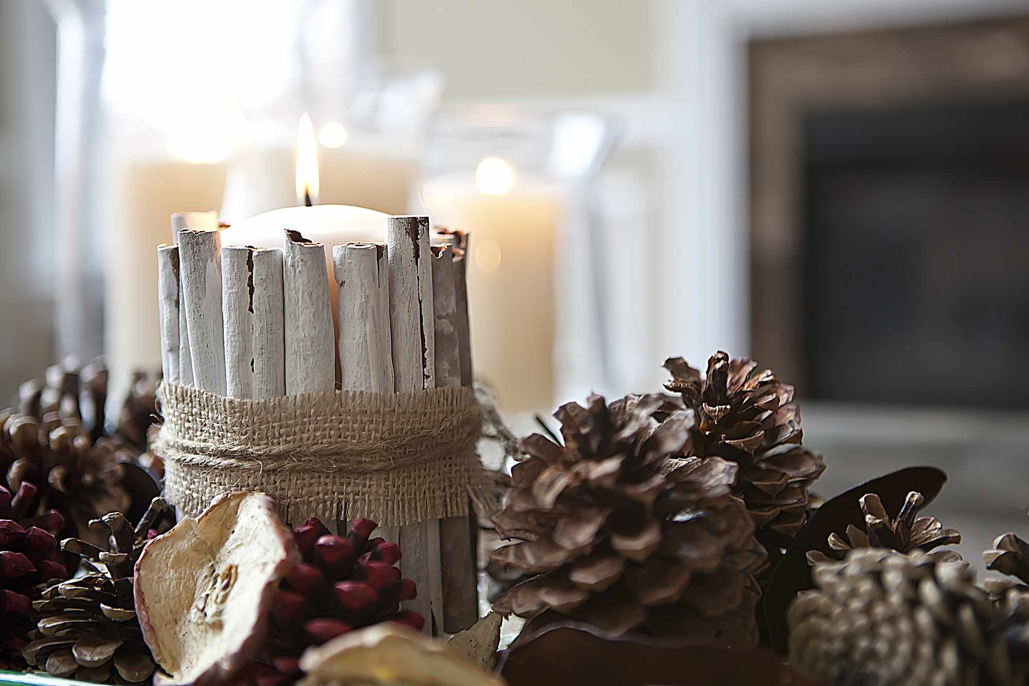 cinnamon stick candle centerpiece
