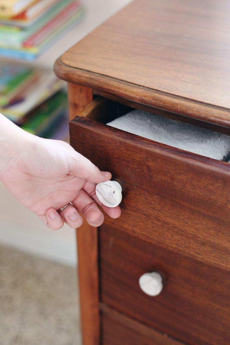 marble pulls on a dresser