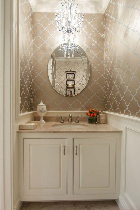 16 baños glamorosos con papel tapiz