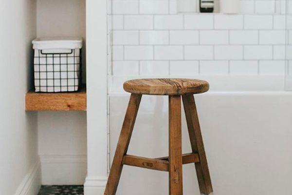 small bathroom with stool