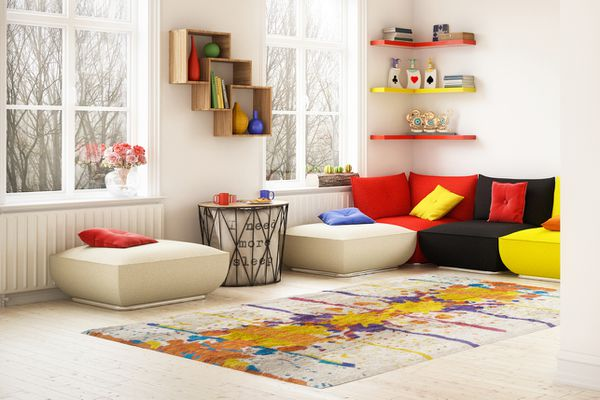 pops of primary colors in decor