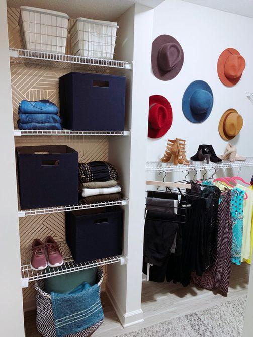 espacio para sombreros en el vestidor