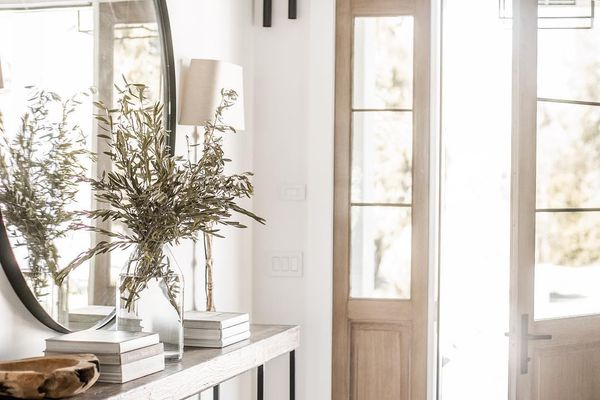Foyer with white walls and a wooden door