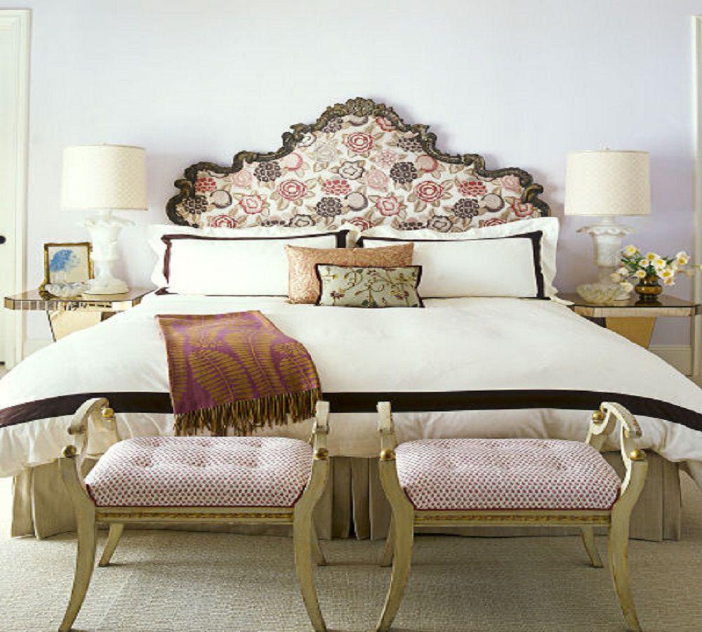 Dormitorio romántico con cabecero hermoso