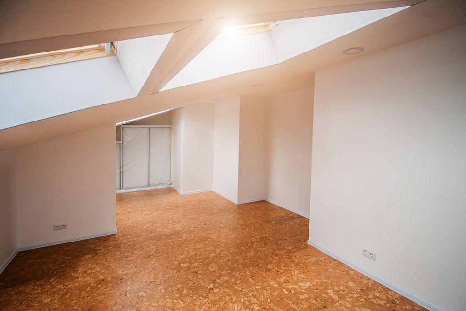 Interior in white colors in the attic