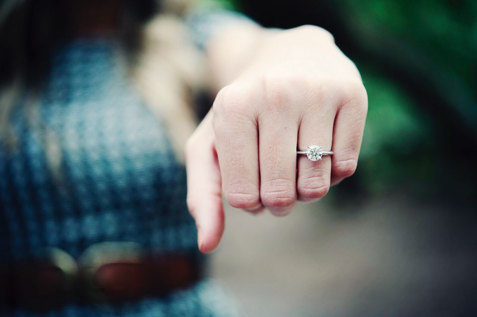 Hand with a diamond ring