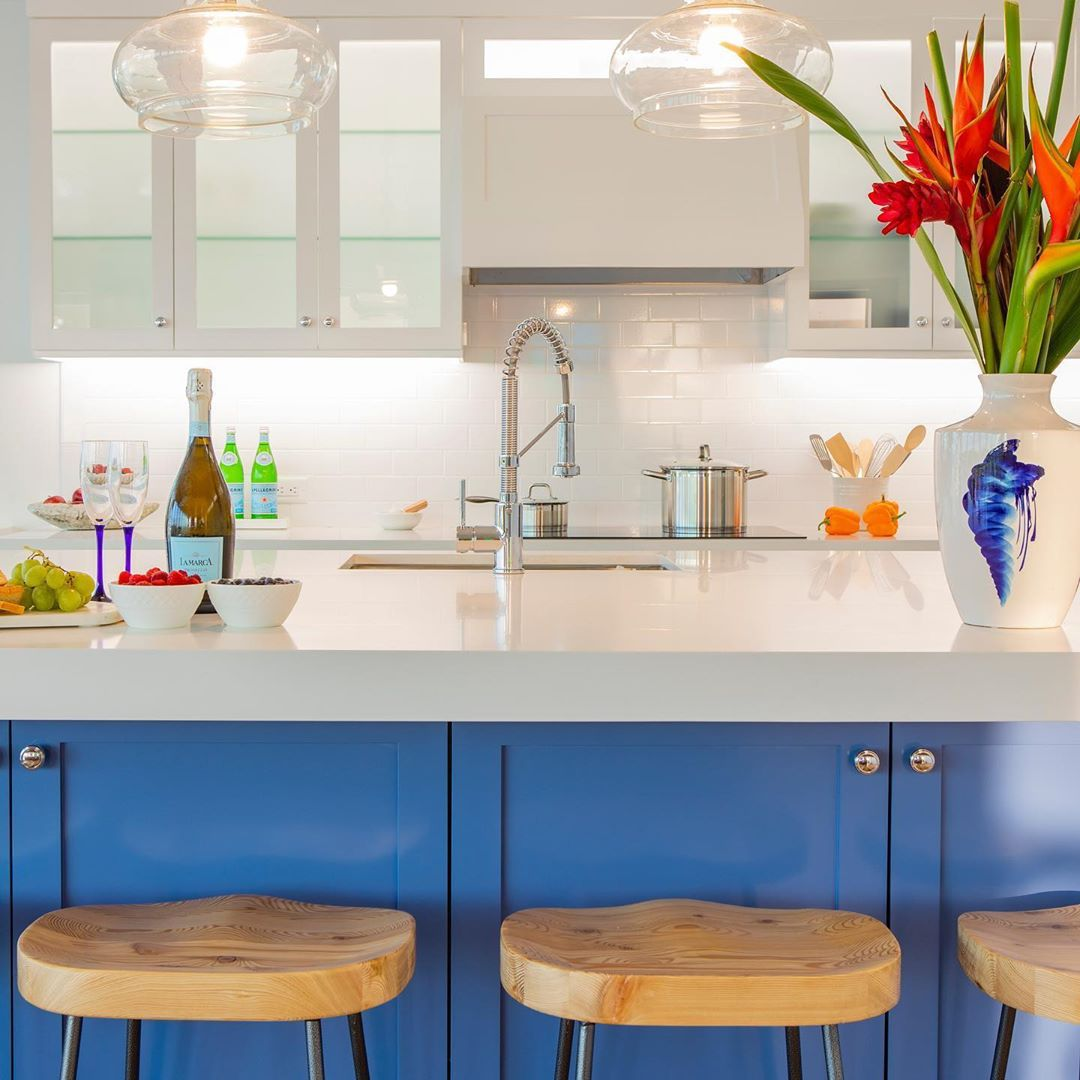 Blue kitchen with stools