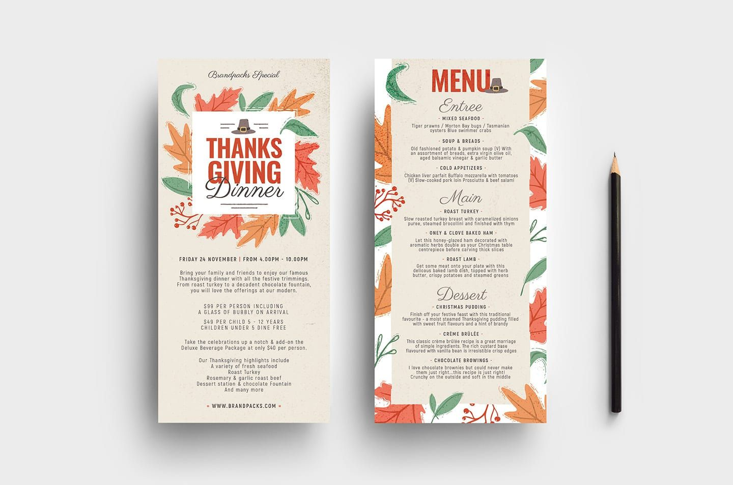 A Thanksgiving dinner menu decorated with fall leaves