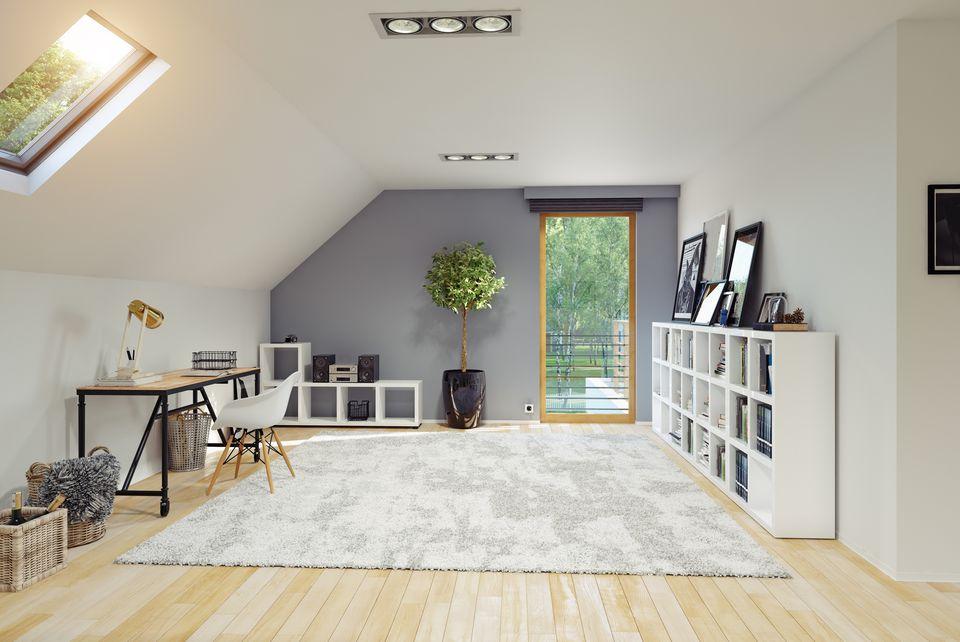 Modern Attic room interior.