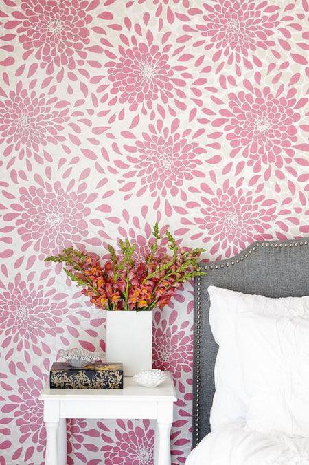 Pink Fl Wallpaper In Traditional Bedroom