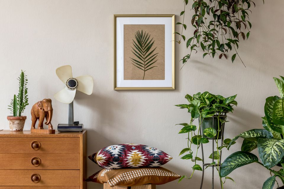 Stylish retro home staging of living room with gold mock up poster frame, design furnitures, a lot of plants, pillows, retro fan and elegant personal accessories. Vintage home decor. Template.
