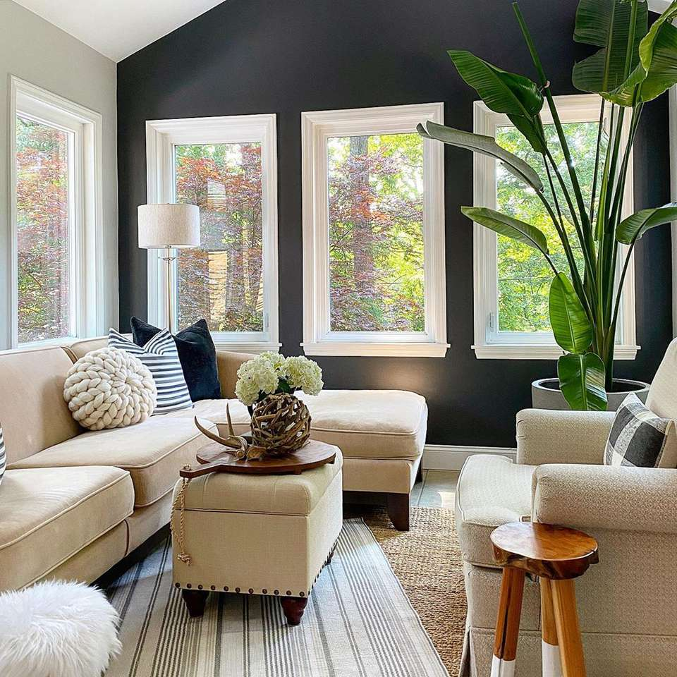 Sunroom with black accent wall