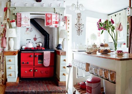 White Kitchen With A Bright Red Stove