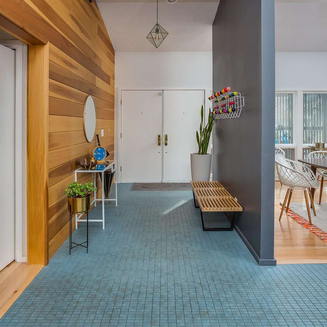 Entryway with blue tile floorings