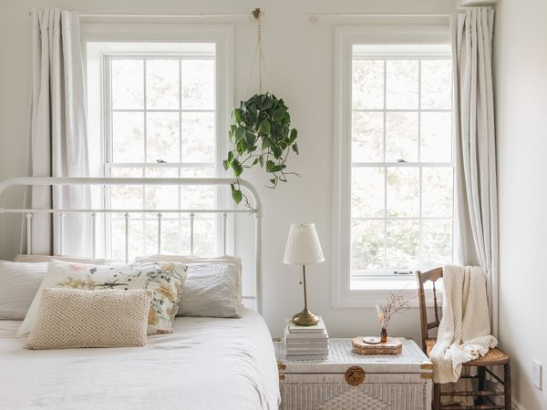 bed placed under a window
