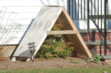 Commercial Shrub Shelter Consisting Of An A Frame Roofed With Plywood