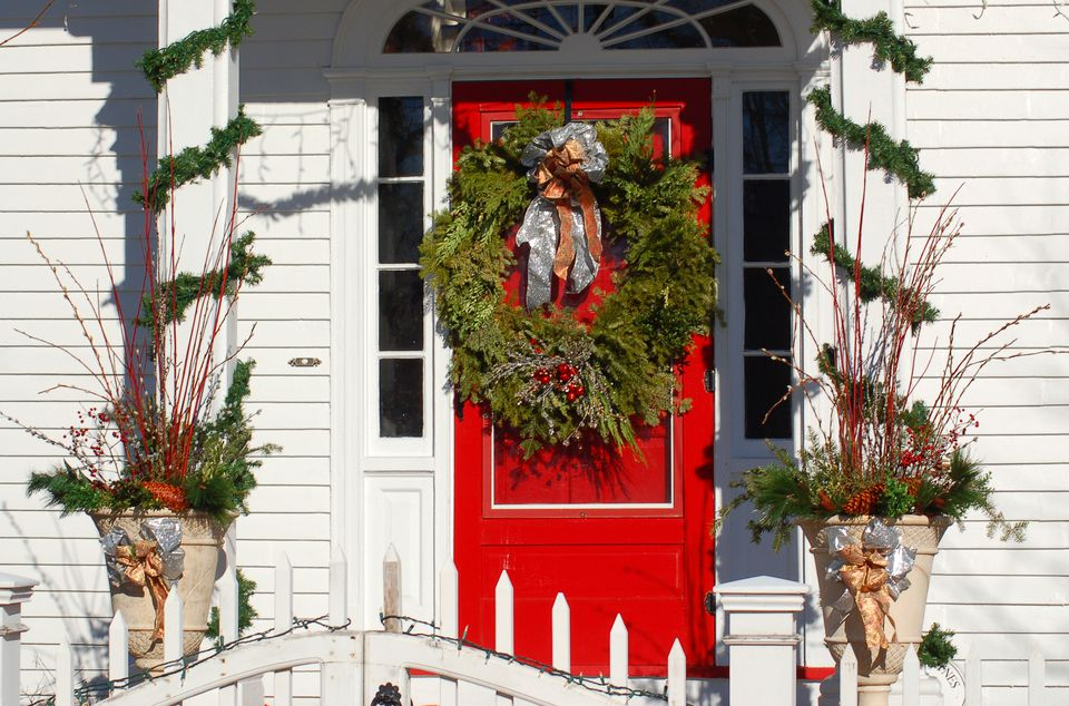 Outdoor Christmas Decorating With Trees And Foliage