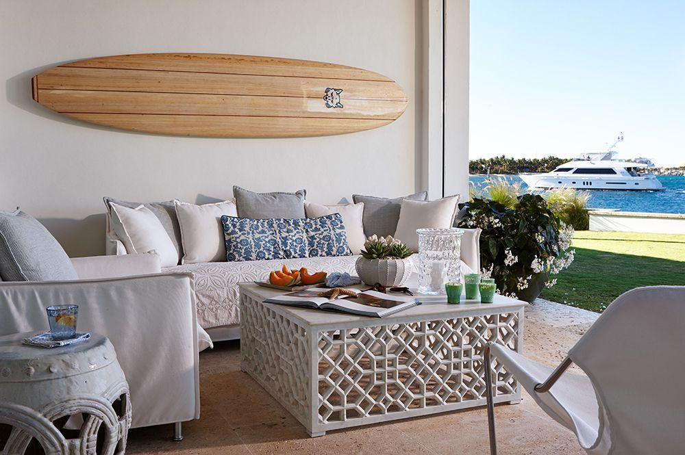vintage arte de pared de tablas de surf afuera