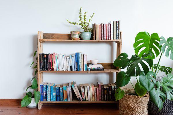 bookshelf made from a wood pallet