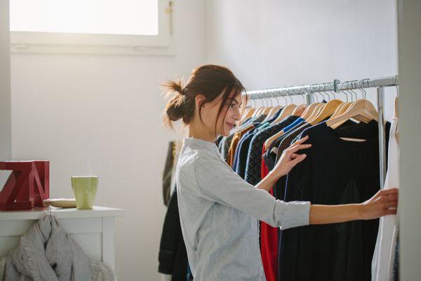 Person choosing clothing