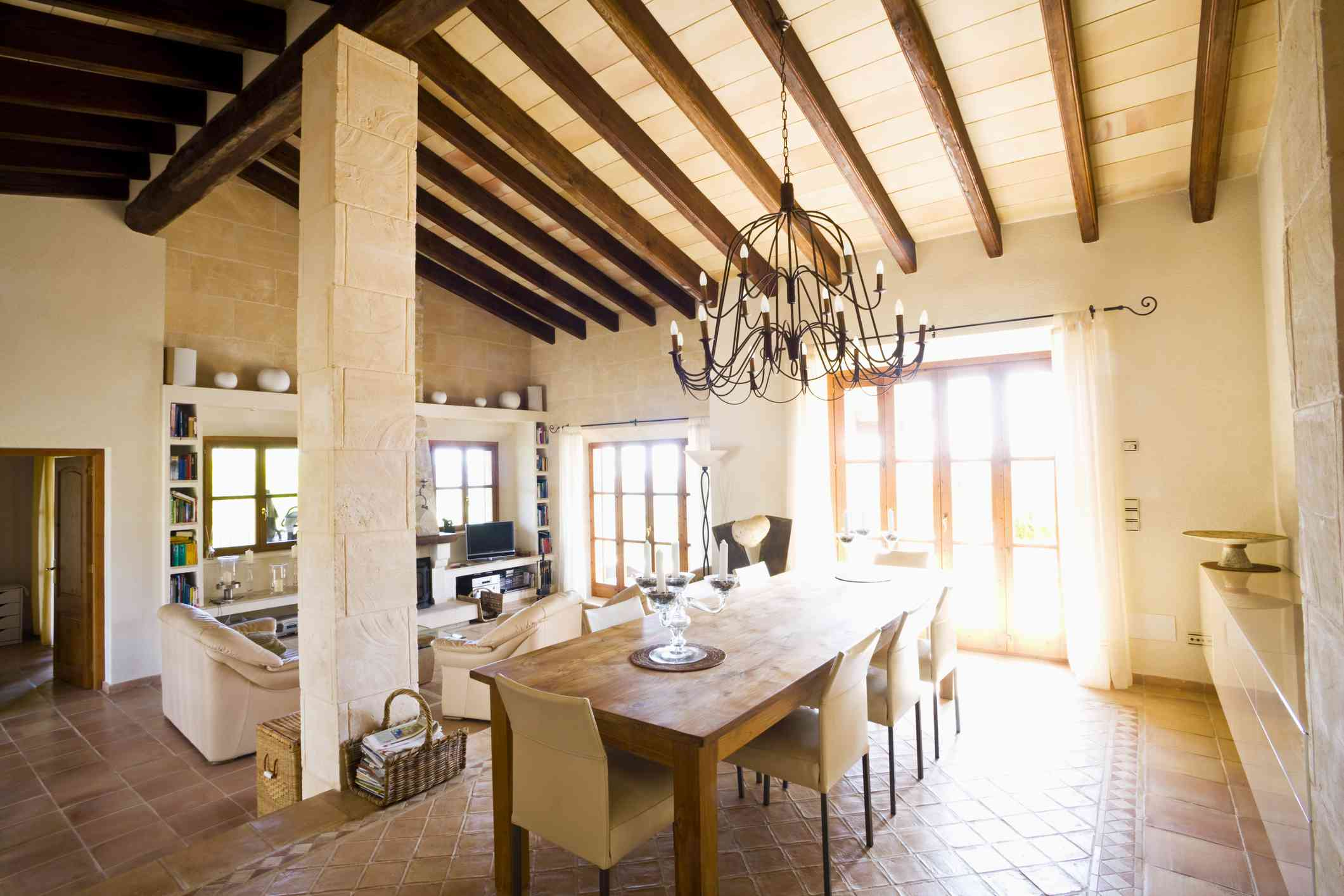 Home with exposed Beam Ceiling