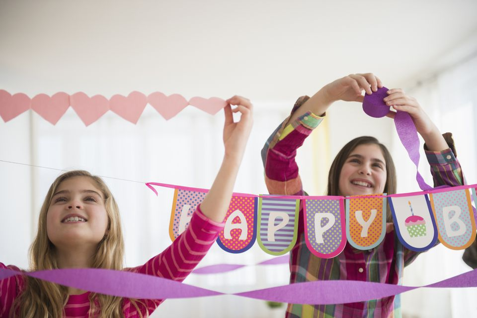 Girls decorating for party