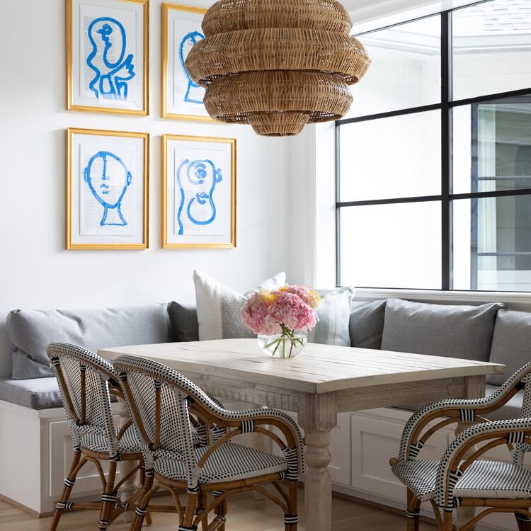 blue and gold gallery wall