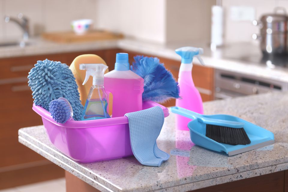 cleaning supplies on a countertop