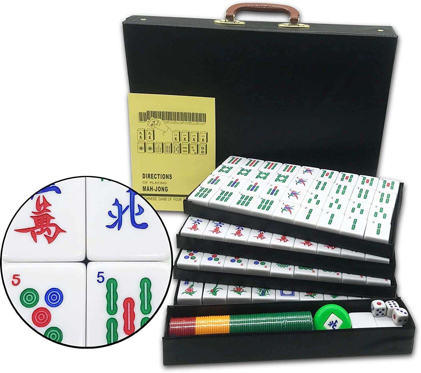 Mose Cafolo Chinese Mahjong X-Large 144 Numbered Melamine Tiles