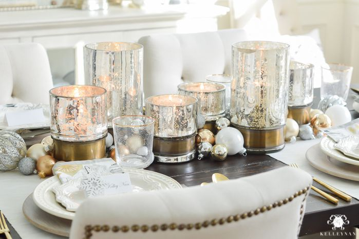 22 pretty christmas table decorations settings - Silver Christmas Table Decorations
