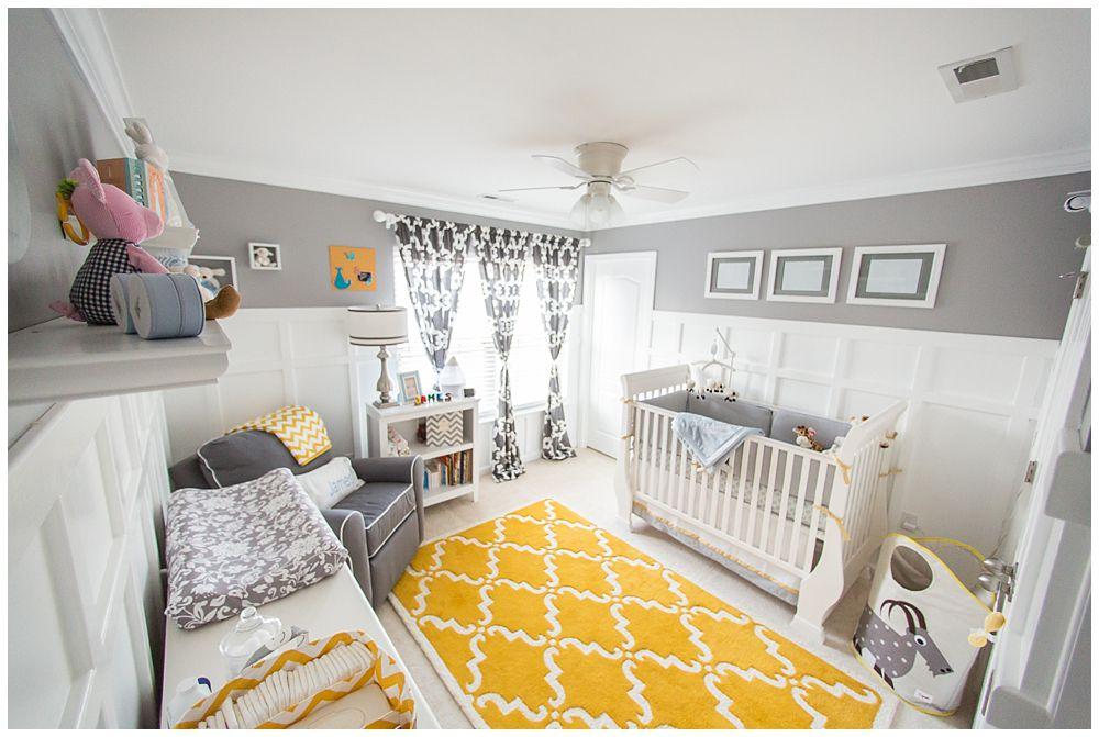 Vivero gris con acento amarillo alfombra