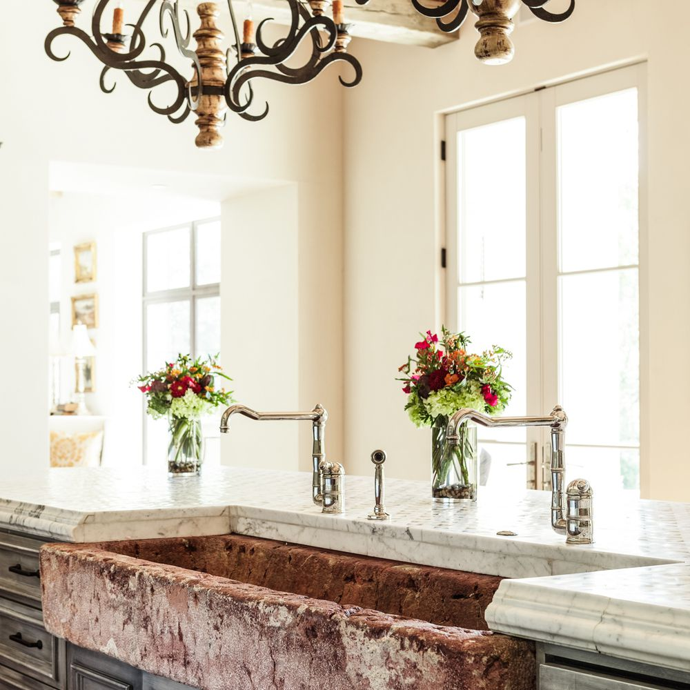 textured sink in French country kitchen