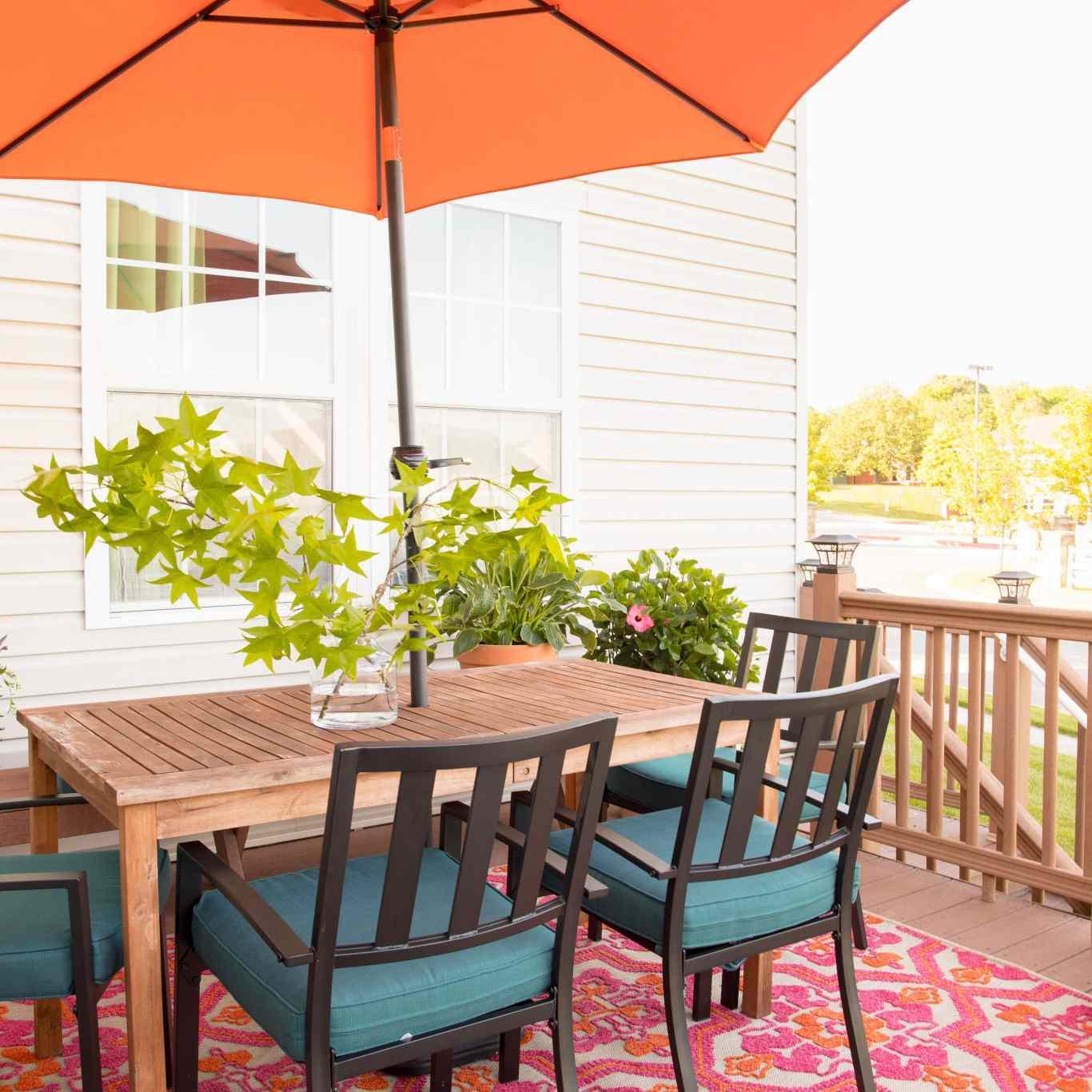 Small patio table and umbrella