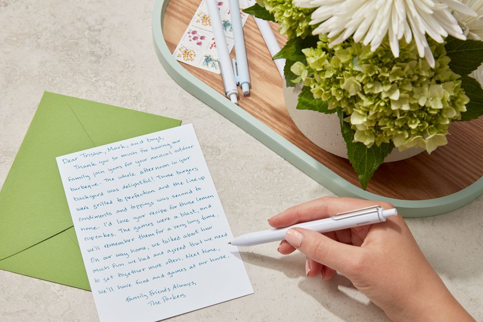 writing a dinner party thank you note